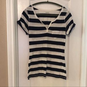 Express Navy & White Stripe Top